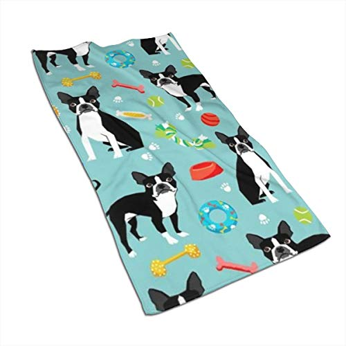 (OBILITDREAM Boston Terrier Toys Dog Face Towel,Hand Towel,Kitchen Towels-Dish 3D Design Pattern Towel,Towels for The Kitchen,Cleaning,Cooking,Baking 15.7x27.5in )