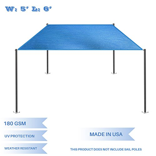 E K Sunrise 5 x 6 Blue Rectangle Sun Shade Sail Outdoor Shade Cloth UV Block Fabric,Straight Edge-Customized