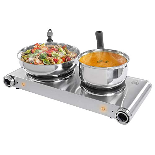 SUNAVO Hot Plates for Cooking Electric Double Burner, 1800W Portable Burner Electric Cast-Iron (Electric Single Burner Hot Plate)
