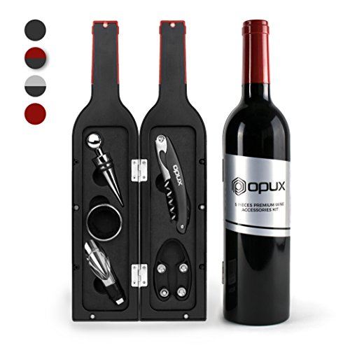 Deluxe Wine Opener Set (OPUX Deluxe Wine Opener Accessories Gift Set | Wine Tools with Waiters Corkscrew Opener | 5 Piece Wine Bottle Opening Kit | Wine Gift Set for Wine Lovers and Drinkers (Black/Red))