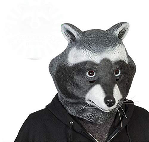 Obtai Halloween Latex Raccoon Full Face Mask Hat Animal Head Mask Toy]()