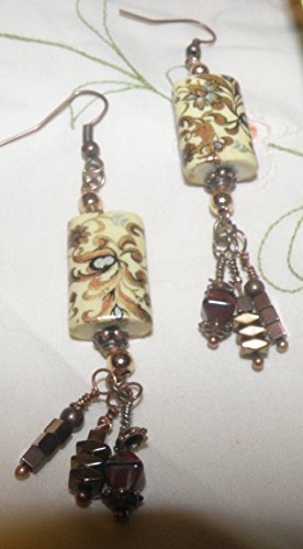 Metallic Hematite Czech Glass (Paisley Type Floral Print with Czech Glass and Metallic Accents)