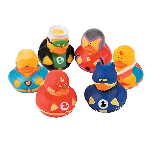 Fun Express Super Hero Rubber Duck Duckies Party Favors - 12 Pieces -