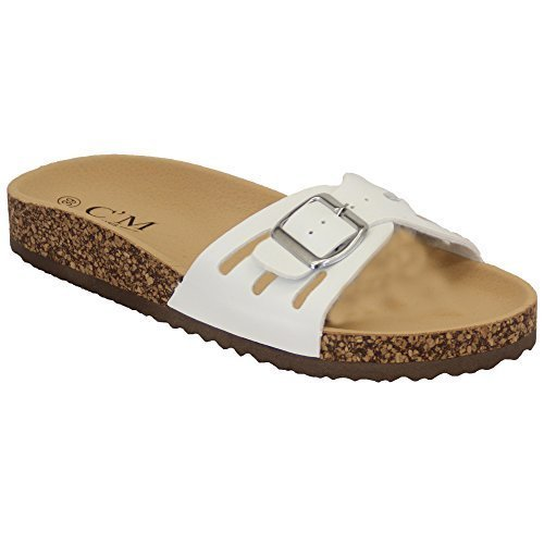 Ladies Slippers Slip On Flat Mule Sandals Womens Sliders Patent Cork Flip Flops White - 2011 LdEY7LIDB
