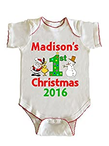 Madison's First Christmas Baby Girl Infant Bodysuit by Fashion Greek