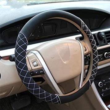 Uniqus Silver Bullion Embroidery Steering Wheel Cover