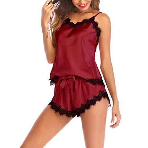 Lu's Chic Women's Satin Pajama Cami Set Silky Lace Nightwear 2 Piece Lingerie Short Sleepwear Red XX-Large