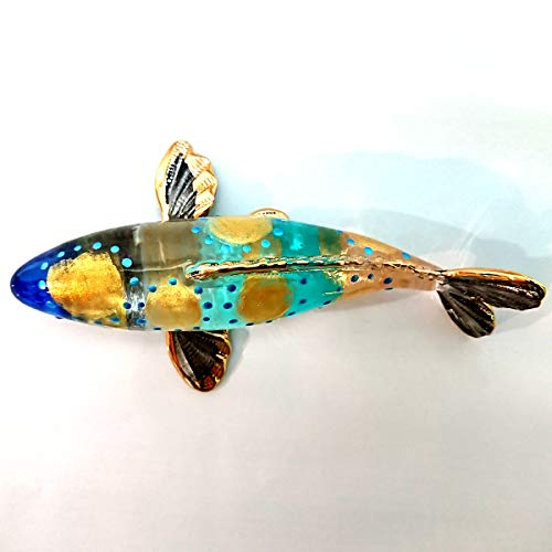 "Sansukjai 4"" Japan Carp Koi Fish Figurines Animals Hand Painted Hand Blown Glass Art Gold Trim Collectible Gift Decorate,Blue Gold"