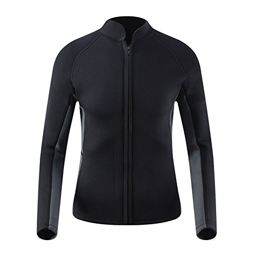EYCE Dive & SAIL Mens 3mm Wetsuit Jacket Top Long Sleeve Neoprene Wetsuits (Black/Grey, Small)