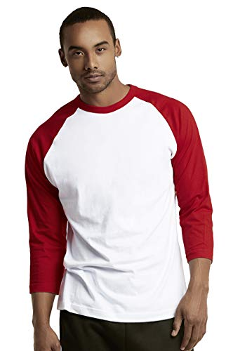 Red Raglan Sleeve - TOP PRO Men's 3/4 Sleeve Casual Raglan Jersey Baseball Tee Shirt (S, RED/WHT)