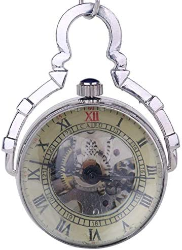 YXZQ懐中時計、スチームパンクなスケルトンヴィンテージローマネックレスメンズ自動機械式ラウンドボール懐中時計