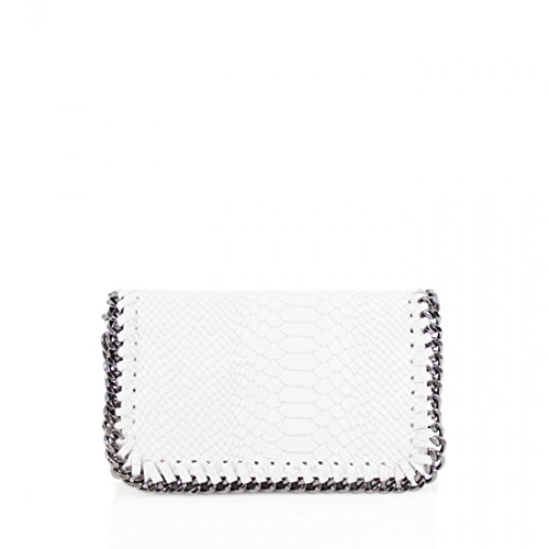 chain MEtal Bag Crossbodybag Clutch Celebrity Womens Genuine Craze London Ladies White Design xY4q0gw