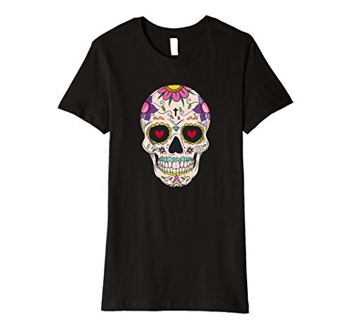 Womens Funny Cute Day Of The Dead Sugar Skull Costume Tshirt Medium Black