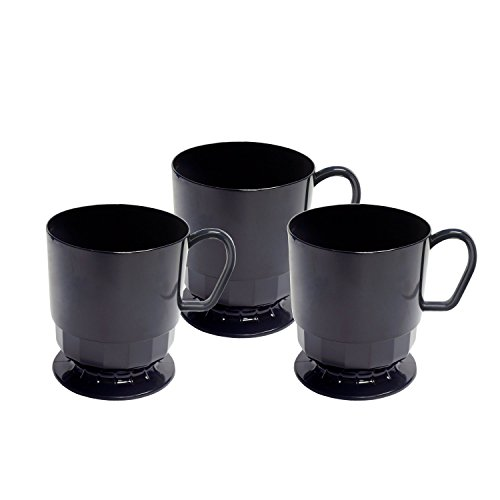 Party Essentials Deluxe/Elegance Hard Plastic 8-Ounce Coffee Cups, 20-Count, Black