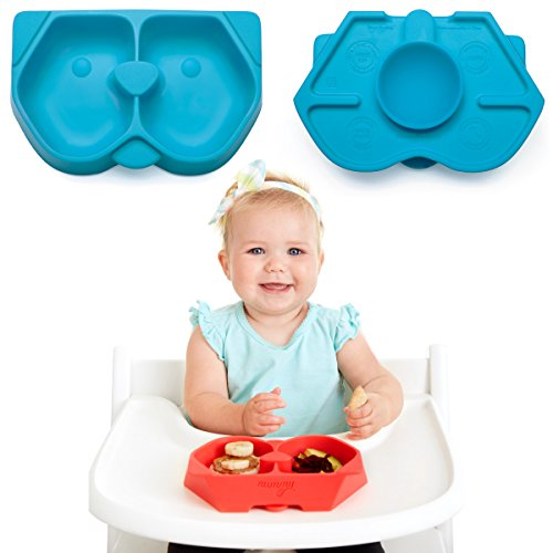 NUMMY Bowl - Pure Silicone Bowl with Hidden Suction Cup for Babies and Toddlers | Great Baby Gift | BPA and Phthalate Free | Microwave and Dishwasher Safe (Puppy Pal, Blue)
