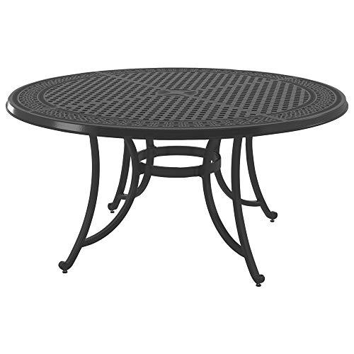 Square Folding Table Iron Patio - Ashley Furniture Signature Design - Burnella Outdoor Large Round Dining Table with Umbrella Option - Lattice Top - Seats 6 - Brown