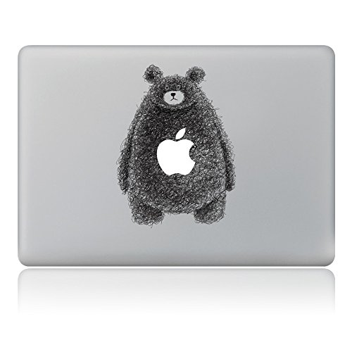 Kiseki MacBook Sticker Hairy Bear Laptop Notebook Decal Skins Stickers Fit for MacBook Air Pro Retina 13