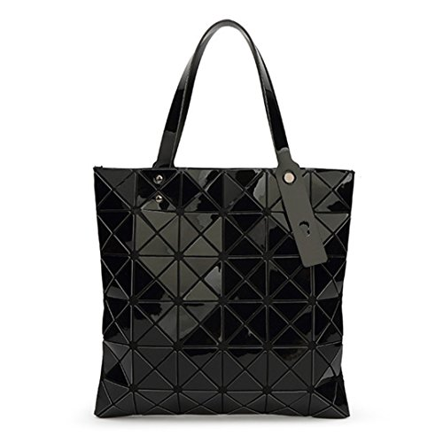 Japanese Women's Shopping Color Folding Black Geometric Lattice Bag 15 Diamond 1aRqwE5