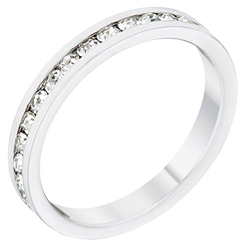 - Stylish Birthstone Stackables Swarovski Crystal By Kate Bissett Clear -April Size 7