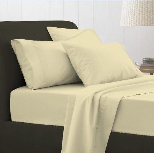 Adams 100% sábanas de algodón egipcio, crema, doble 200 hilos ...