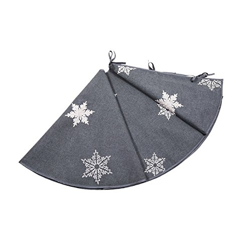 Glisten Snowflake Embroidered Christmas Tree Skirt, 56-Inch Round, Grey