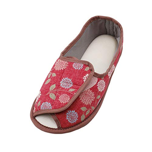 Extra Diabetic Comfortable Wide Red Shoes Memory Foam Slippers Adjustable Slippers Flower Women's Edema Arthritis pWz1q1