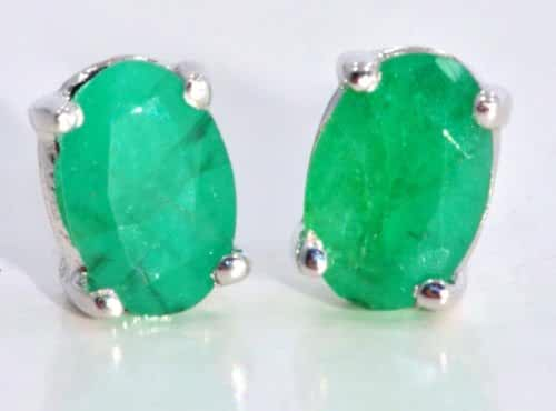 14Kt White Gold Genuine Emerald Oval Stud Earrings