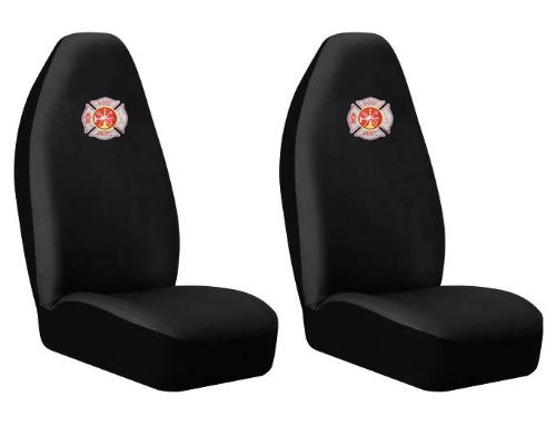 Front High Back Seat Covers Set - Fire Fighter Firefighters Maltese Cross Fire Department Custom Logo