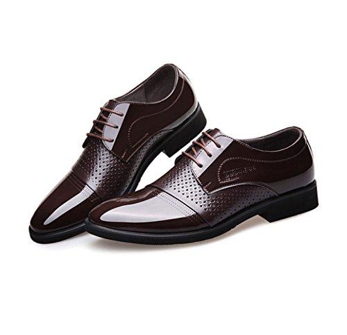 LEDLFIE Sandales D'été des Hommes D'affaires Formelles D'usure Cutouts Chaussures en Cuir Respirant Chaussures pour Hommes Brown ZDneYoW0xZ
