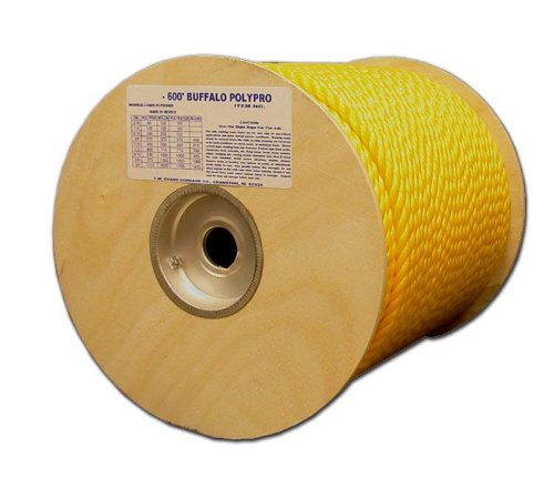 T.W Evans Cordage 80-010 1/4-Inch by 600-Feet Buffalo Twisted Polypro Rope, Yellow by T.W . Evans Cordage Co.