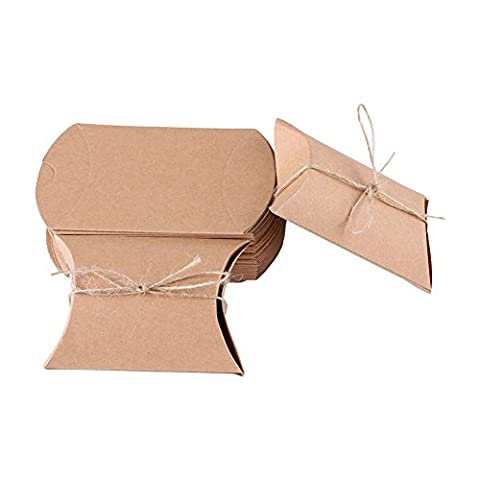 100pcs Kraft Paper Pillow Candy Box for Wedding Party Favor Brown Paper Box Fine - Carnival Tuxedo Collection