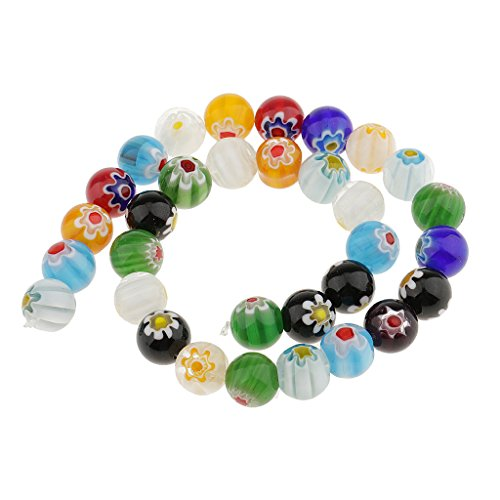 illefiori Lampwork Glass Round Beads Loose Spacer Beads for Jewelry Making Crafts - Multicolor, 12mm (Multi Color Lampwork Glass)