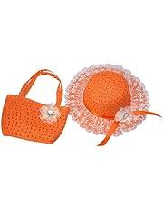 XueXian Kids Girls Children Straw Sun Beach Flower Hat Cap Handbag Set Birthday Gift