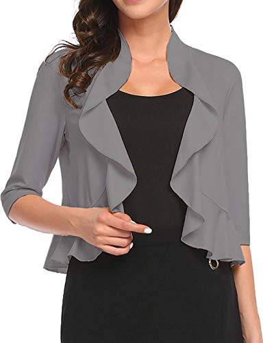 Women's Open Front Cropped Cardigan 3/4 Sleeve Casual Shrugs Jacket Draped Ruffles Lightweight Sweaters (Grey, Large)