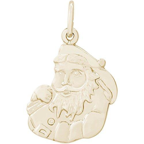 Santa Claus 14k Gold Charm - Rembrandt Charms 14K Yellow Gold Santa Claus Charm (16.5 x 15 mm)