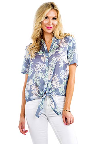Women's Blue Bahama Mama Hawaiian Shirt - Birds of Paradise Button Down Aloha Shirt ()