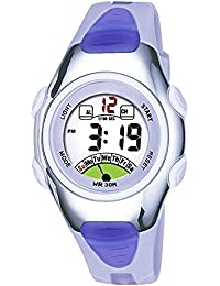 Outdoors Sports Digital Girls Watches Kids Multi Functions Led Water Resistant Wrist Watch for Girls Silver/Purple