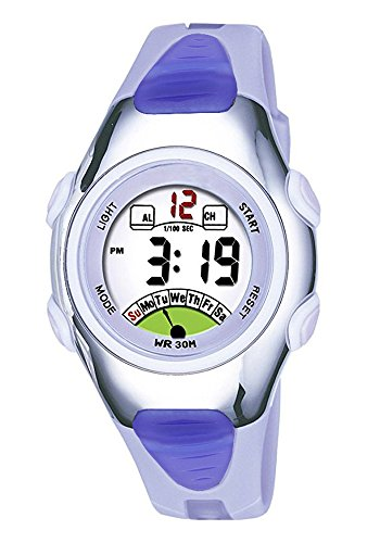 Outdoors Sports Digital Girls Watches Multi Functions Led Water Resistant Kids Wirst Watches (Purple)