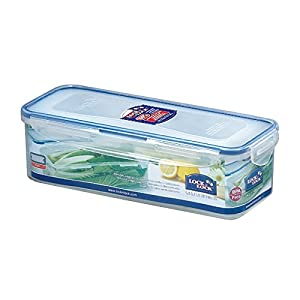 LOCK & LOCK 54-Fluid Ounce Rectangular Food Container with Tray, Tall, 6.6-Cup