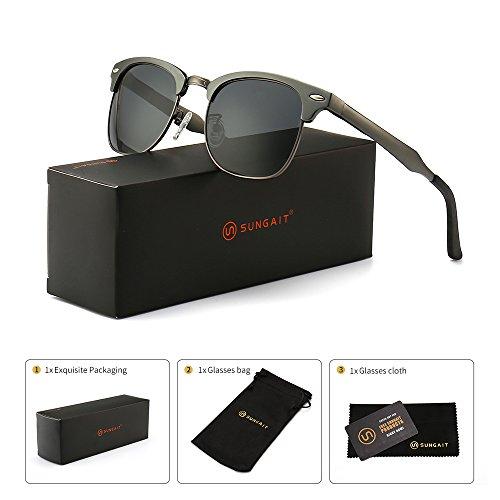 SUNGAIT Classic Half Frame Clubmaster Sunglasses with Polarized Lens (Gunmetal Frame Gray Lens)