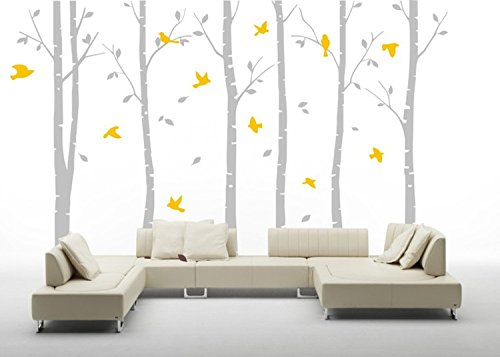 Forest Bedroom - AmazingWall 180X280cm/70.9x110.2 Poplar Forest Wall Sticker Living Room Bedroom Kids' Room Nursery Decor Home Decorations Removeable 1PCS/Set,Grey Trunk Yellow Leaves