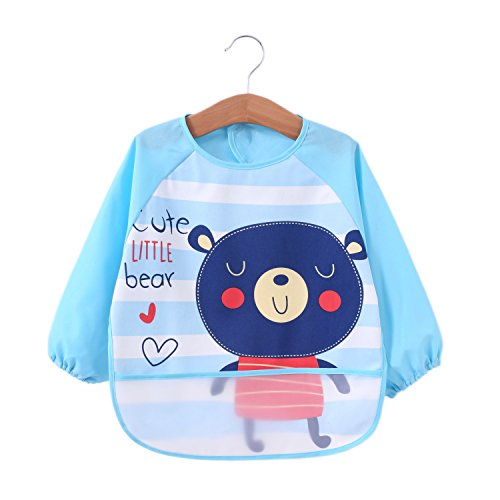 Momloves Cute Baby Toddler Waterproof Sleeved Bib,Water Resistant Baby Bib, 6 Months +, Spend Less Time Cleaning after Meals with Babies or Toddlers, Funny Personalized for Boys & Girls ()