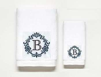 Monogram Letter ~ Towel Set ~ 100% Cotton ~ A B C D E F G H I J K L M N O P Q R S T U V W X Y Z (B)
