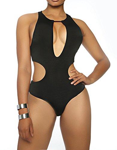 Yonas Women's One Piece Sports Swimsuit Sexy Monokini Beachwear(SIZE S/BLACK)
