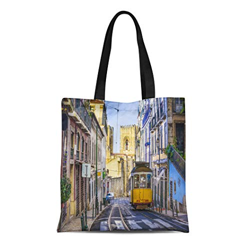 (Semtomn Cotton Canvas Tote Bag Skyline Lisbon Portugal Tram City Lisboa Alleyway Street Train Reusable Shoulder Grocery Shopping Bags Handbag Printed)