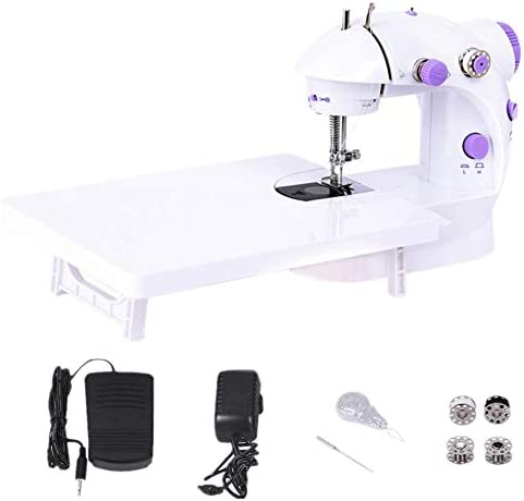 WeFoonLo Doble velocidad portátil Mini máquina de coser con mesa de luz y extensión Para principiantes Travel Kids, 6 x bobinas + pedal + adaptador de corriente + ...