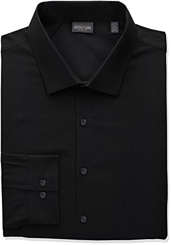 Kenneth Cole REACTION Men's Tall Size Technicole Slim Fit Stretch Solid Spread Collar Dress Shirt, Black, 20