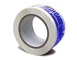 Absolute USA Printed Message Handle with Care Box Sealing Tape (TAPEBLUE)