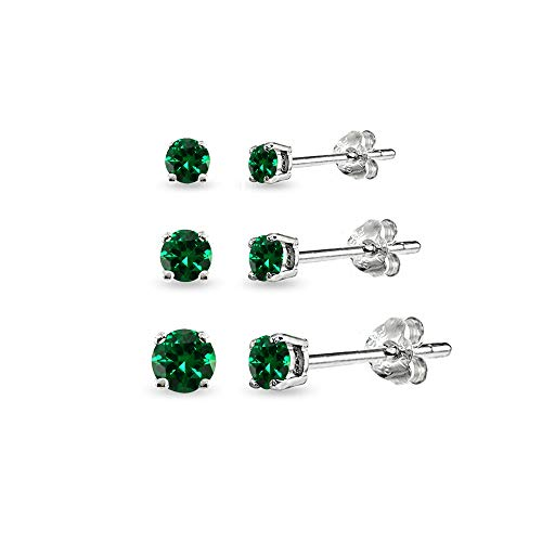 3-Pair Set Sterling Silver Simulated Emerald Round Stud Earrings, 3mm 4mm 5mm ()