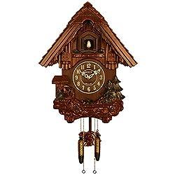 Sinix SN693WC Handcrafted Antique Wooden Cuckoo Pendulum Wall Clock, Brown